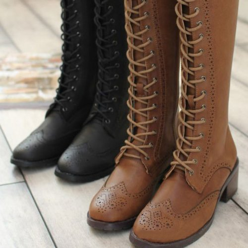 s vintage lace up knee high boots on luulla